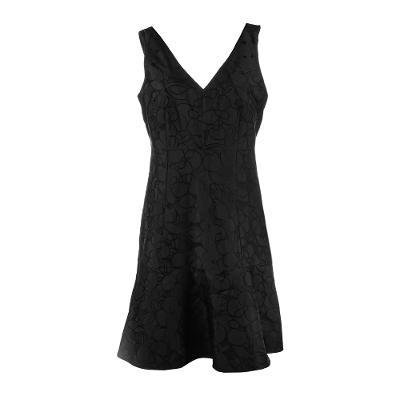 floral pattern midi dress black